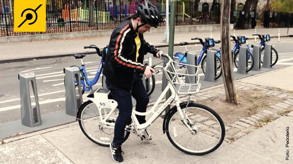 Bike Compartilhada em NY - Fernando testando a bike da SOBI