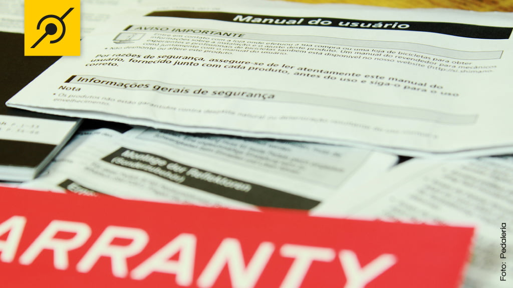 Termos de garantia, nota fiscal e manual de instruções.
