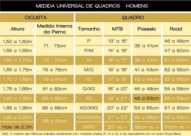 a6f7566e6 Tabela de medidas masculina para tamanho da bicicleta