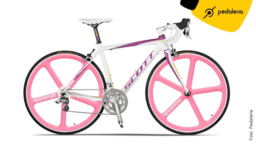 Bike feminina com Aerospoke Rosa by Pedaleria